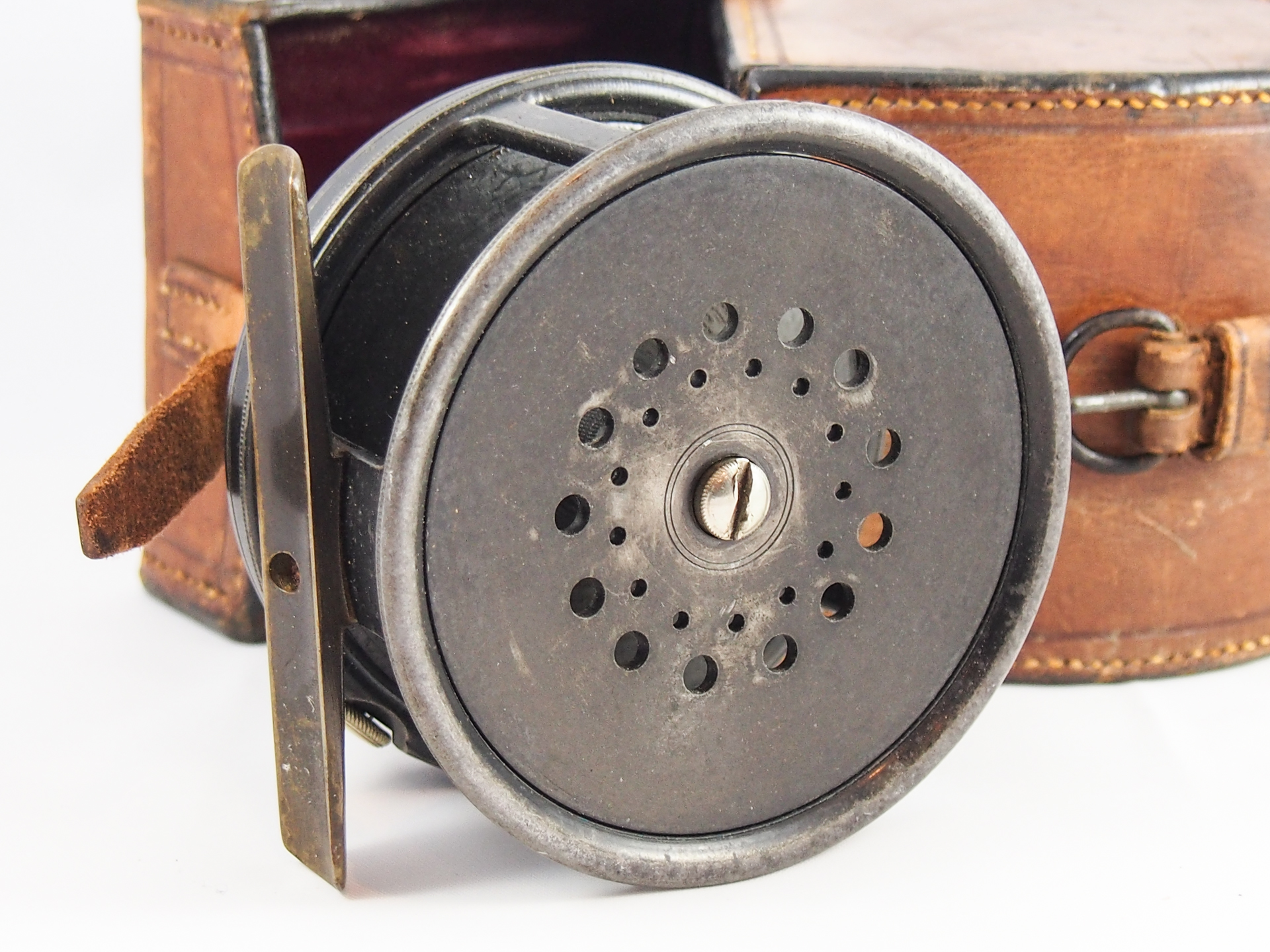 Hardy 3 3 4 perfect salmon fly reel block leather case for Salmon fishing reels